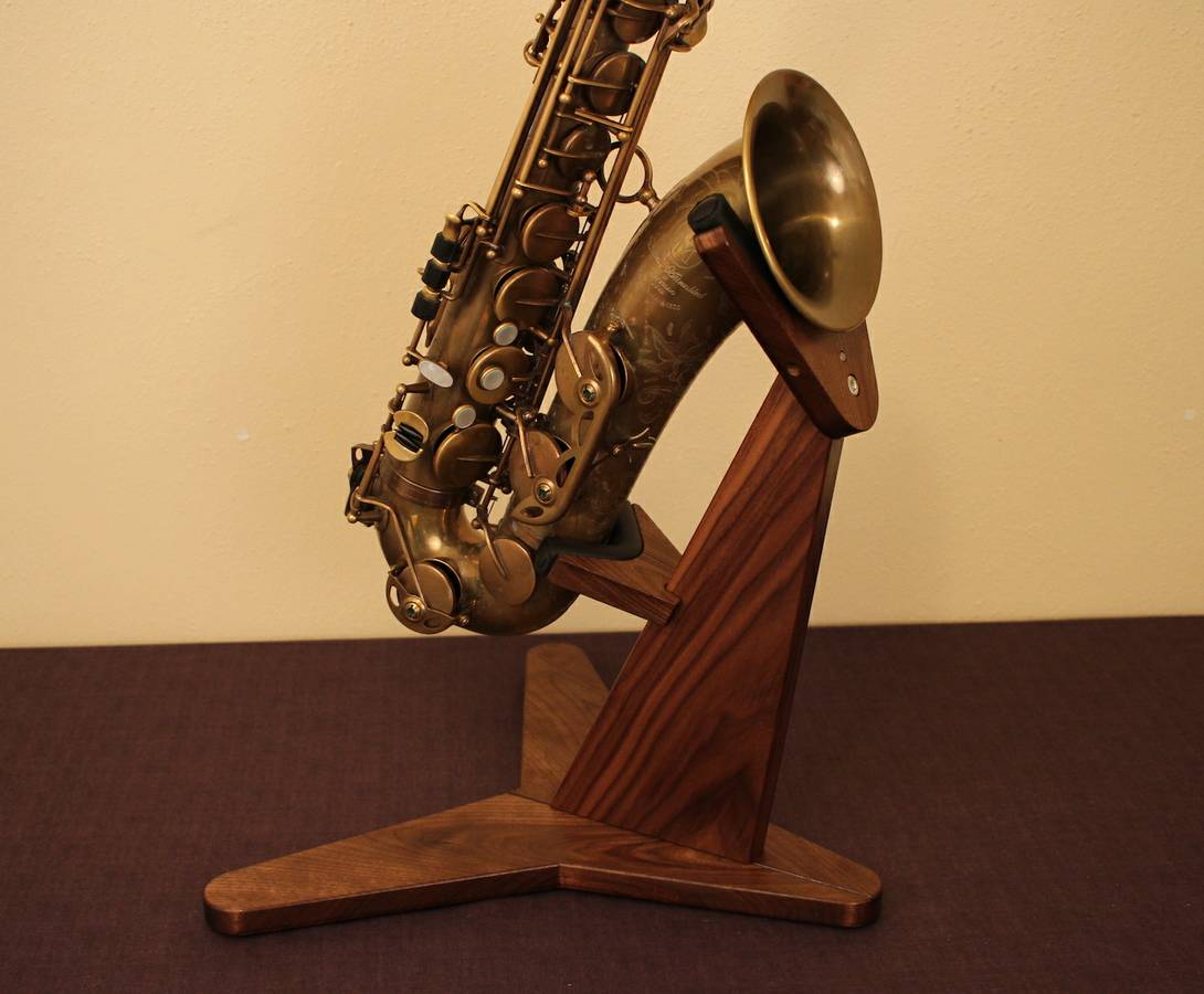 Black Walnut Hardwood Saxophone Stand
